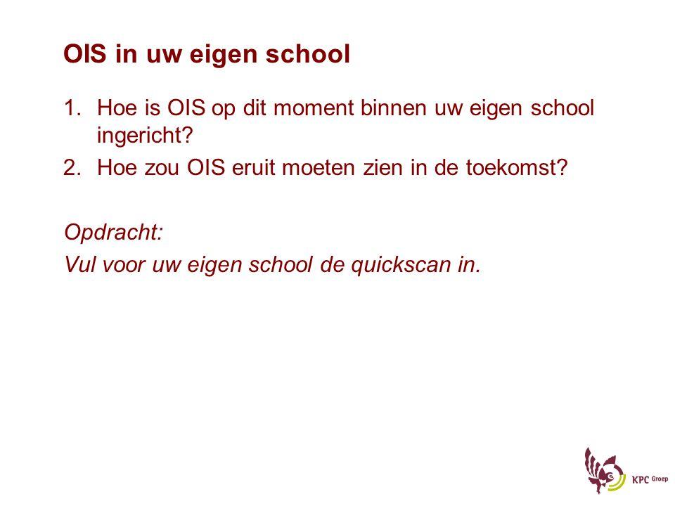OIS in uw eigen school Hoe is OIS op dit moment binnen uw eigen school ingericht Hoe zou OIS eruit moeten zien in de toekomst