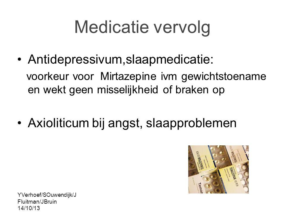 Medicatie vervolg Antidepressivum,slaapmedicatie: