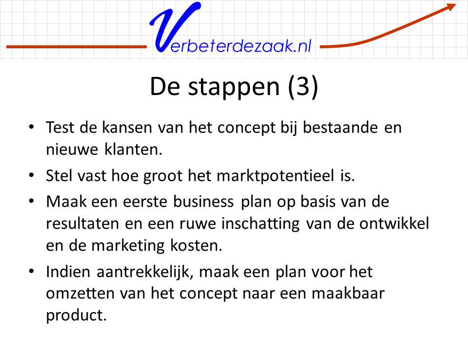 De stappen (3) Test de kansen van het concept bij bestaande en nieuwe klanten. Stel vast hoe groot het marktpotentieel is.