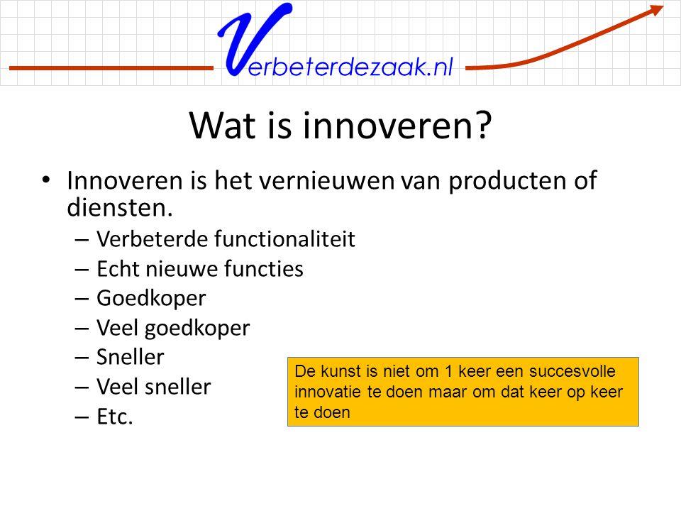 Wat is innoveren Innoveren is het vernieuwen van producten of diensten. Verbeterde functionaliteit.