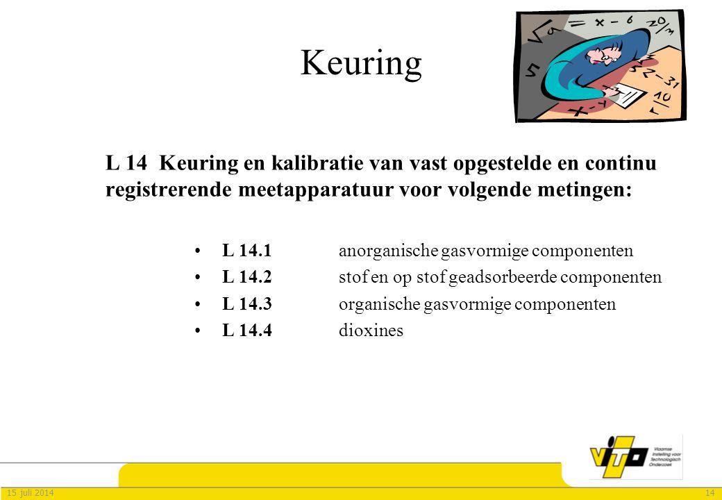 Keuring L 14 Keuring en kalibratie van vast opgestelde en continu registrerende meetapparatuur voor volgende metingen: