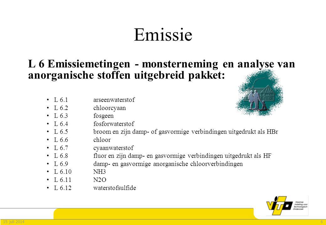 Emissie L 6 Emissiemetingen - monsterneming en analyse van anorganische stoffen uitgebreid pakket: L 6.1 arseenwaterstof.