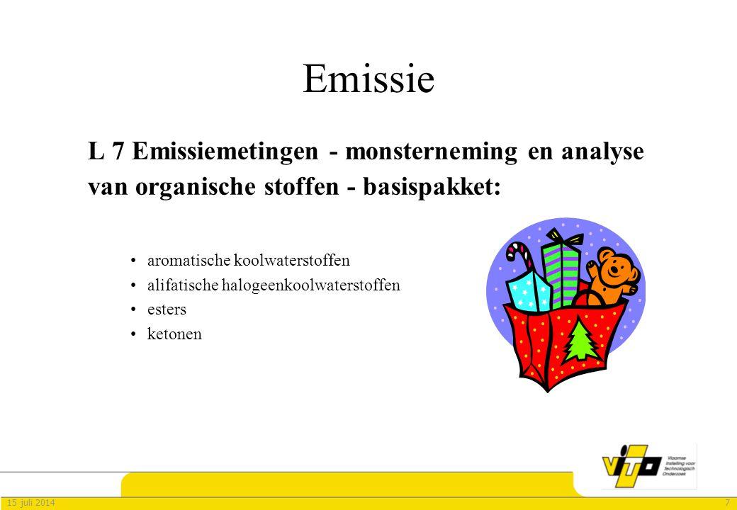 Emissie L 7 Emissiemetingen - monsterneming en analyse van organische stoffen - basispakket: aromatische koolwaterstoffen.