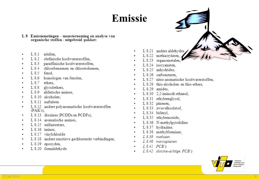 Emissie L 8 Emissiemetingen - monsterneming en analyse van organische stoffen - uitgebreid pakket: