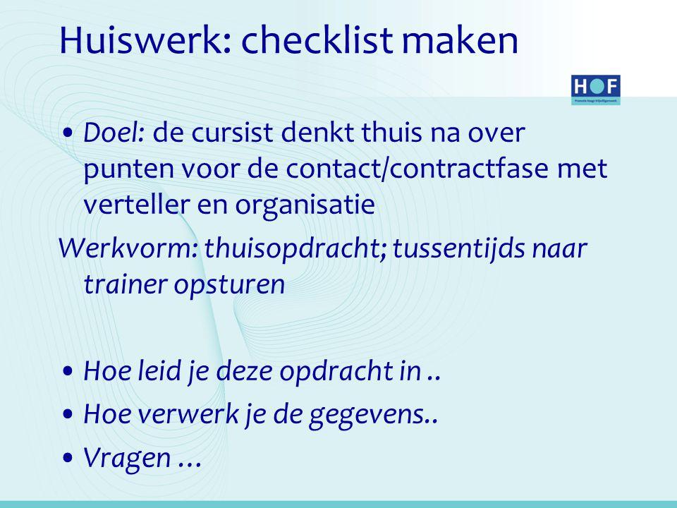Huiswerk: checklist maken