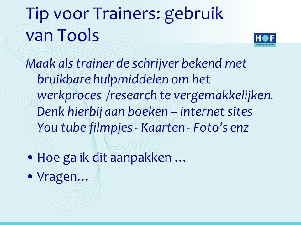 Tip voor Trainers: gebruik van Tools