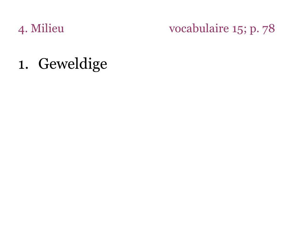 4. Milieu vocabulaire 15; p. 78 Geweldige
