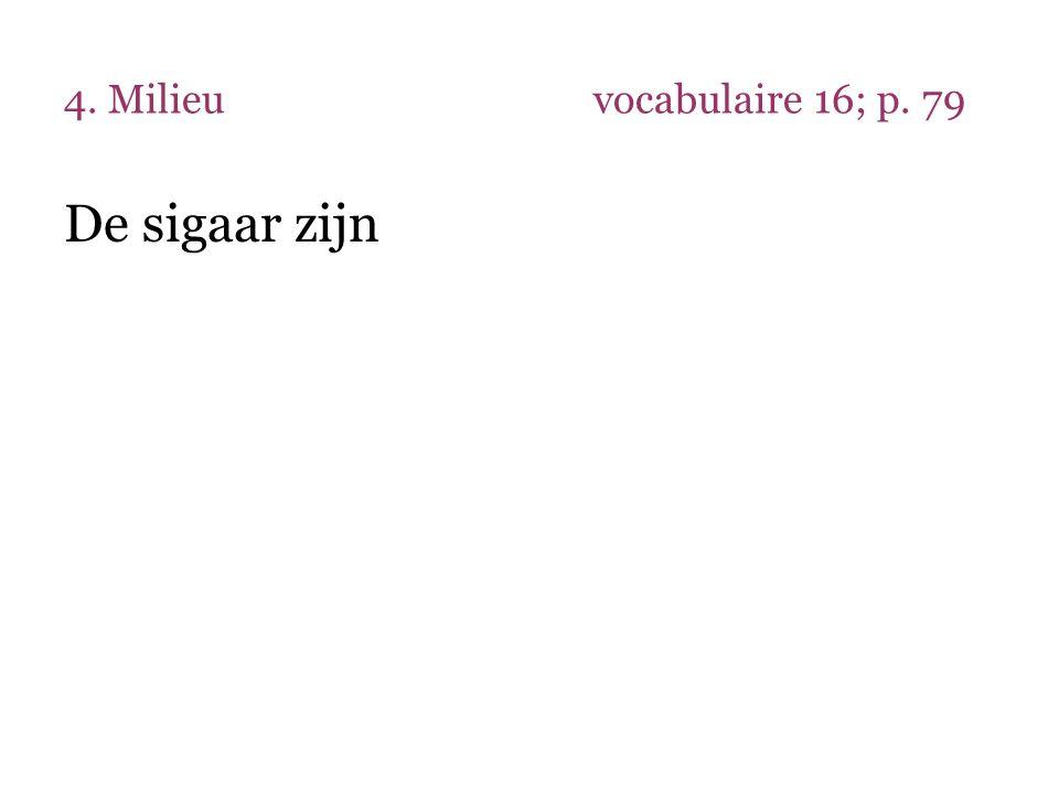 4. Milieu vocabulaire 16; p. 79 De sigaar zijn
