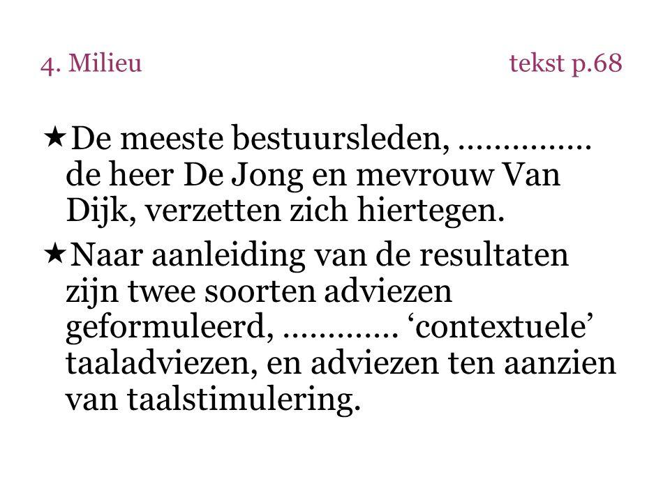 4. Milieu tekst p.68 De meeste bestuursleden, …………… de heer De Jong en mevrouw Van Dijk, verzetten zich hiertegen.