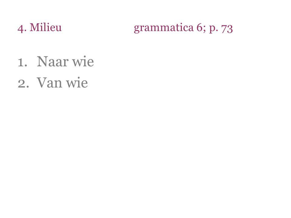 4. Milieu grammatica 6; p. 73 Naar wie Van wie