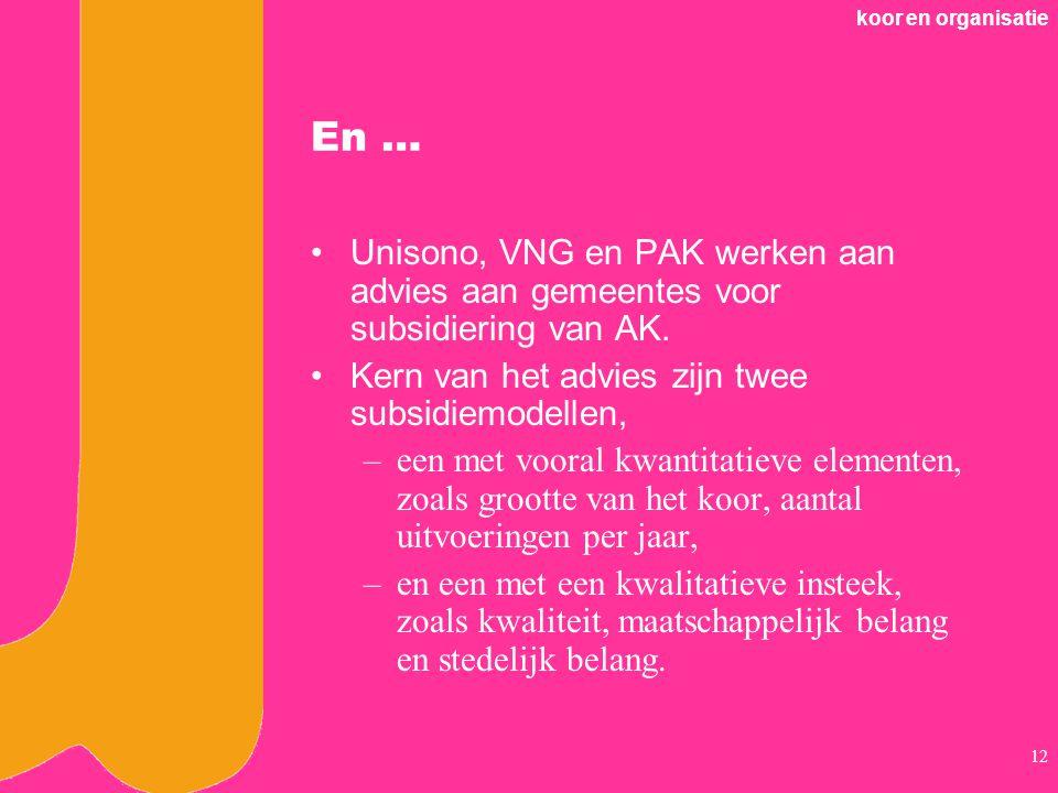 koor en organisatie En … Unisono, VNG en PAK werken aan advies aan gemeentes voor subsidiering van AK.