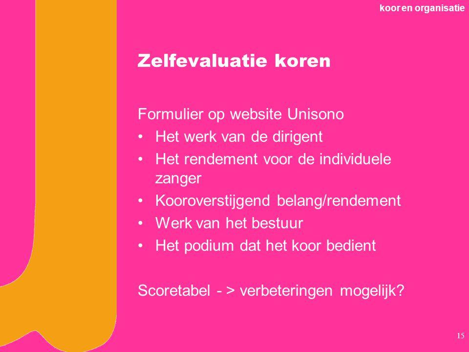 Zelfevaluatie koren Formulier op website Unisono