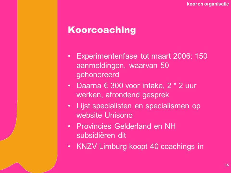 koor en organisatie Koorcoaching. Experimentenfase tot maart 2006: 150 aanmeldingen, waarvan 50 gehonoreerd.