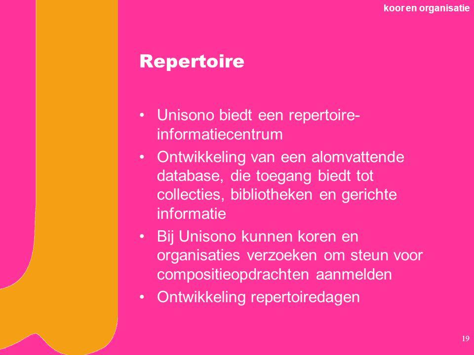 Repertoire Unisono biedt een repertoire-informatiecentrum