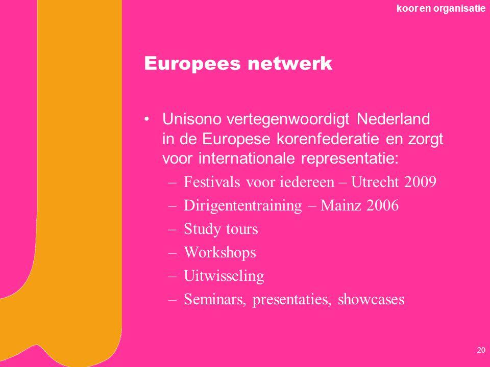 koor en organisatie Europees netwerk. Unisono vertegenwoordigt Nederland in de Europese korenfederatie en zorgt voor internationale representatie: