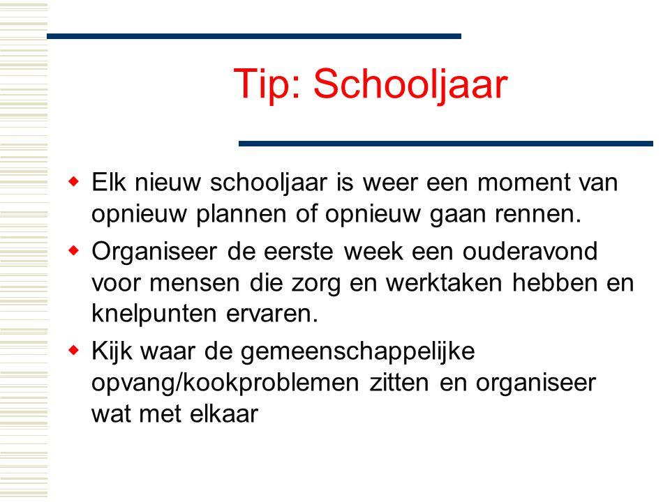 Tip: Schooljaar Elk nieuw schooljaar is weer een moment van opnieuw plannen of opnieuw gaan rennen.