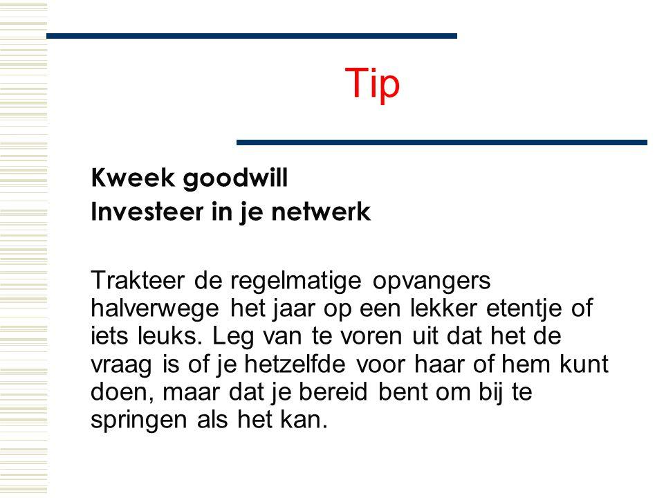 Tip Kweek goodwill Investeer in je netwerk