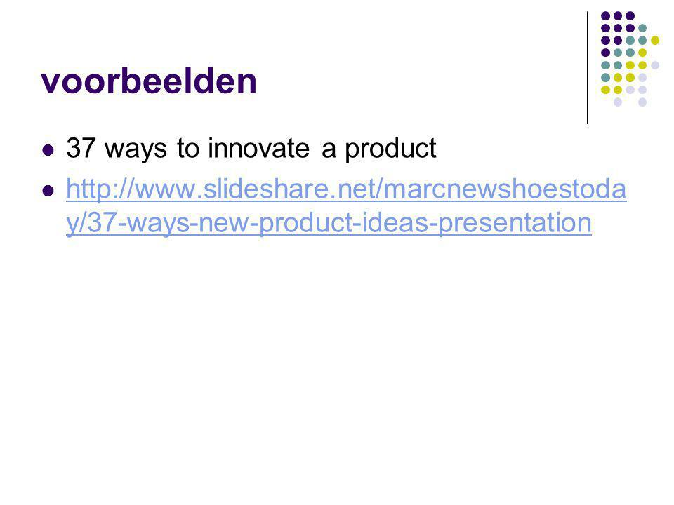 voorbeelden 37 ways to innovate a product