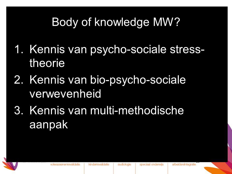 Body of knowledge MW Kennis van psycho-sociale stress-theorie. Kennis van bio-psycho-sociale verwevenheid.