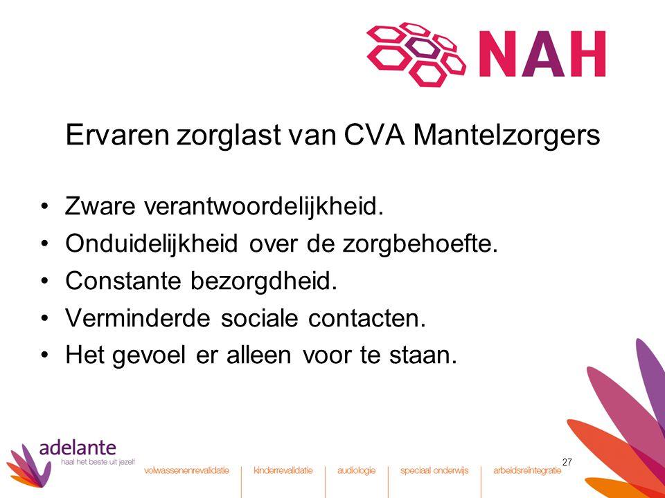 Ervaren zorglast van CVA Mantelzorgers