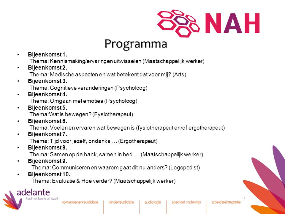 Programma Bijeenkomst 1.