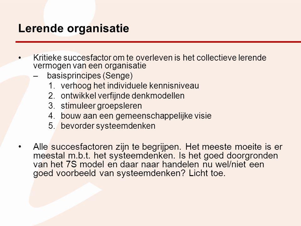 Lerende organisatie Kritieke succesfactor om te overleven is het collectieve lerende vermogen van een organisatie.