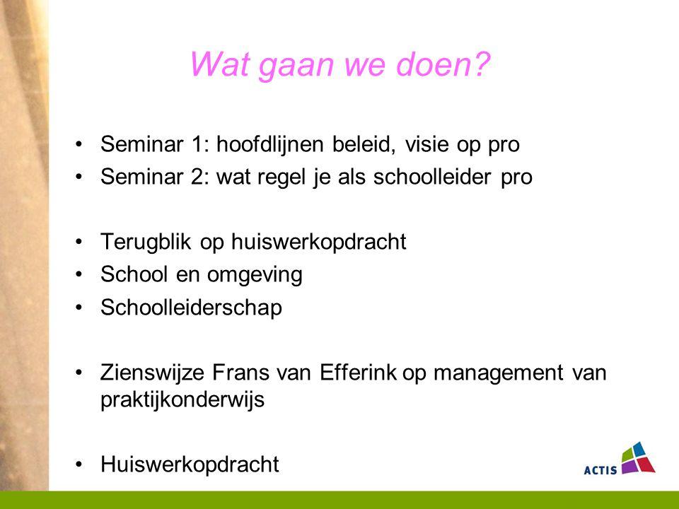 Wat gaan we doen Seminar 1: hoofdlijnen beleid, visie op pro