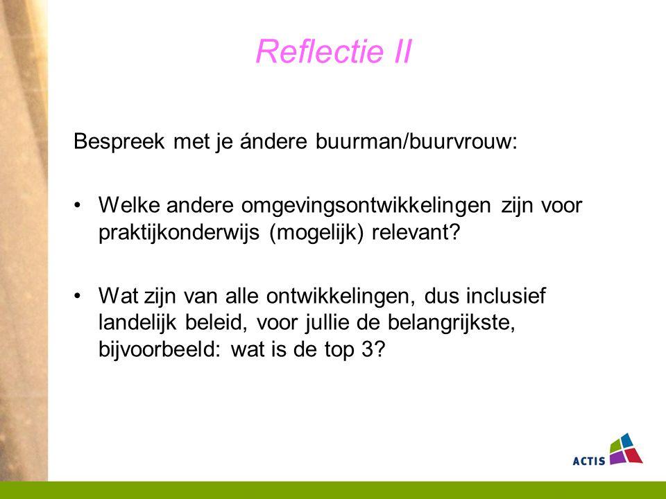 Reflectie II Bespreek met je ándere buurman/buurvrouw: