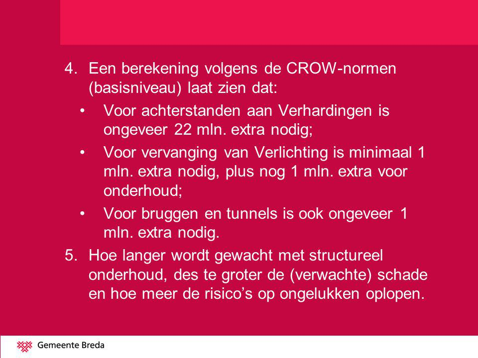 4. Een berekening volgens de CROW-normen (basisniveau) laat zien dat: