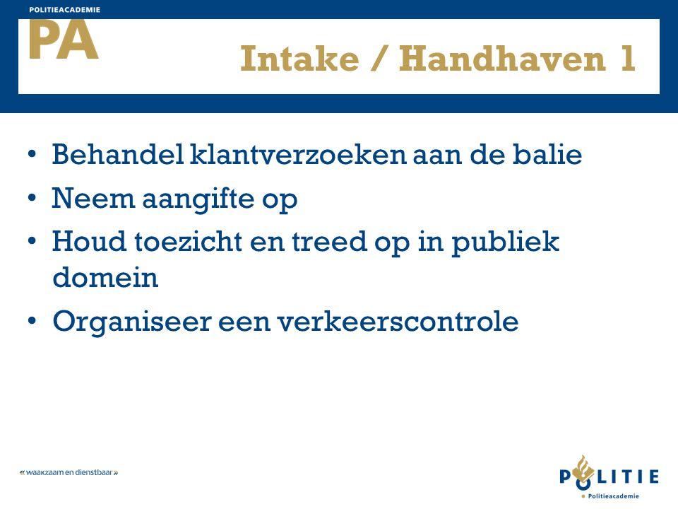 Intake / Handhaven 1 Behandel klantverzoeken aan de balie