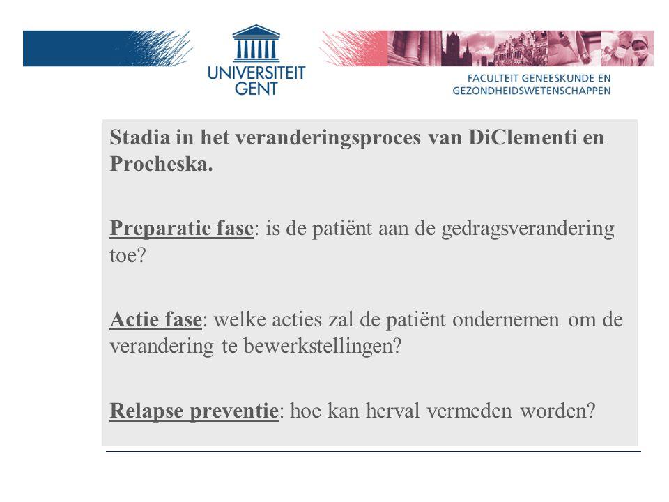 Stadia in het veranderingsproces van DiClementi en Procheska.