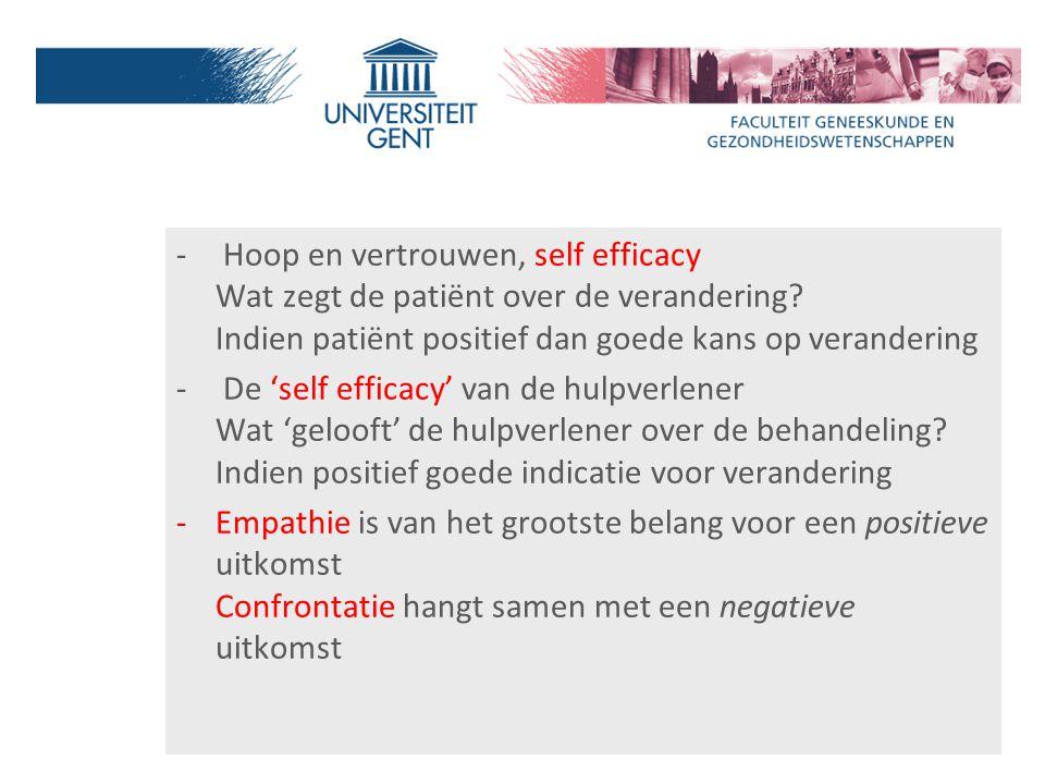 Hoop en vertrouwen, self efficacy Wat zegt de patiënt over de verandering Indien patiënt positief dan goede kans op verandering