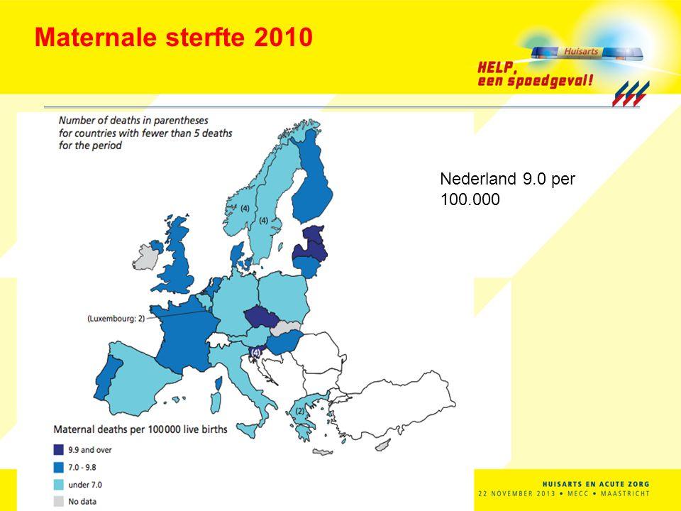 Maternale sterfte 2010 Nederland 9.0 per 100.000 HANS