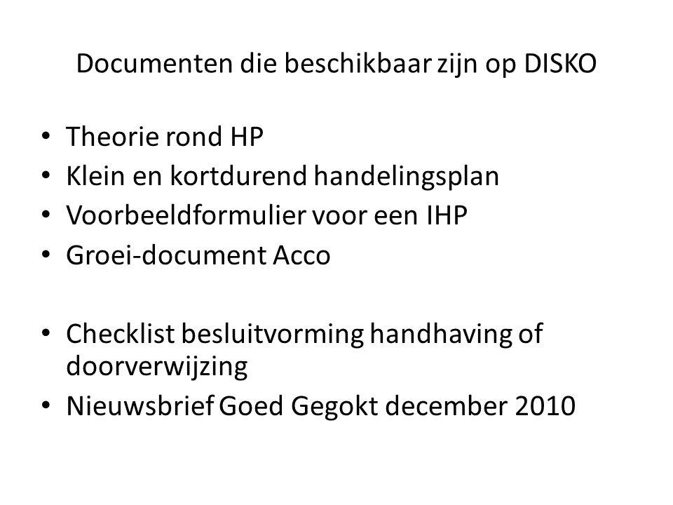 Documenten die beschikbaar zijn op DISKO