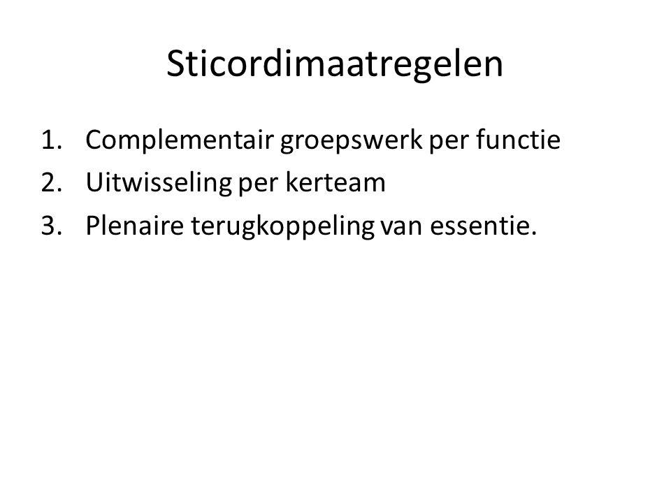 Sticordimaatregelen Complementair groepswerk per functie