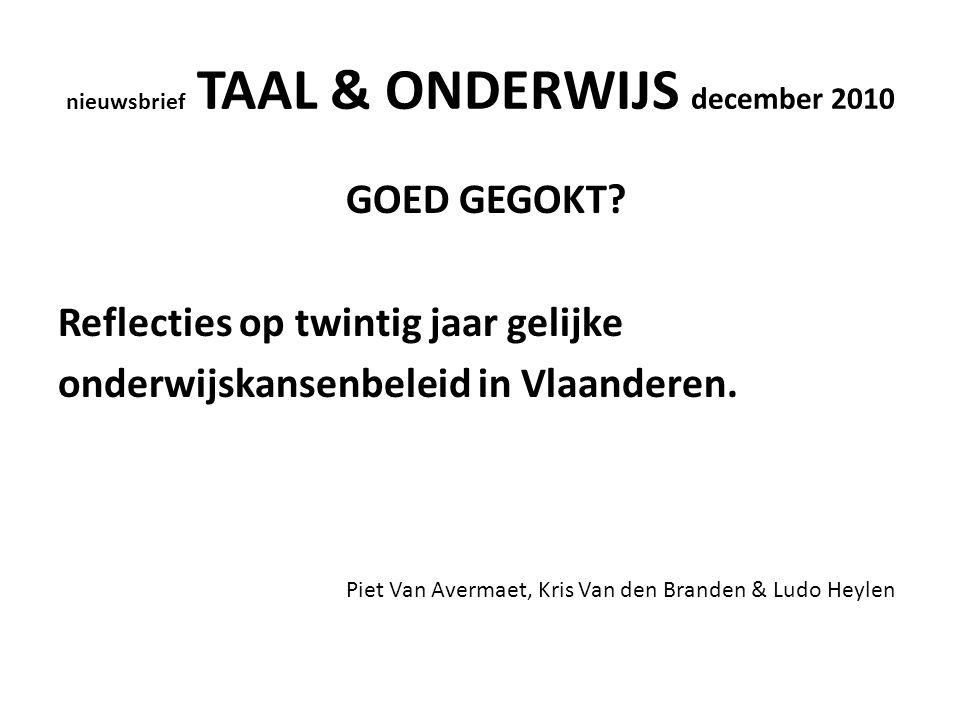 nieuwsbrief TAAL & ONDERWIJS december 2010