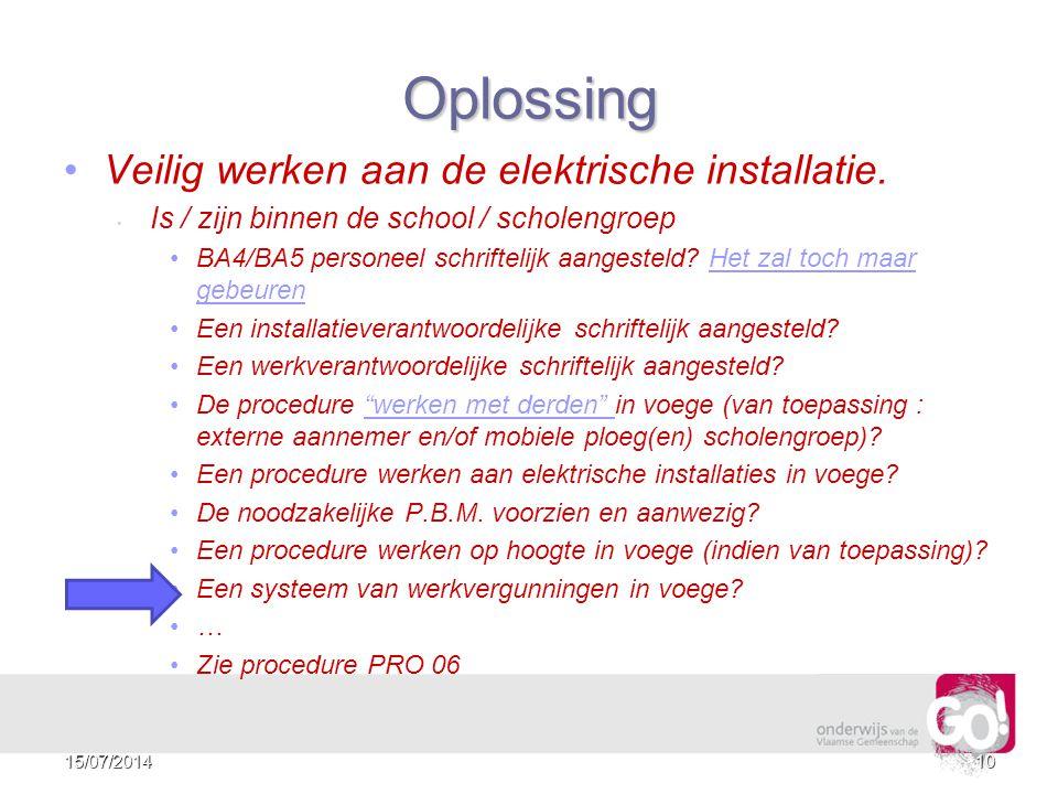 Oplossing Veilig werken aan de elektrische installatie.