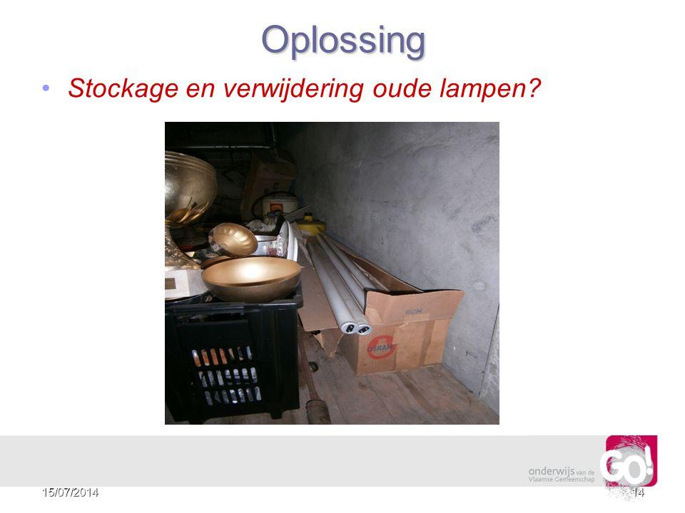 Oplossing Stockage en verwijdering oude lampen 4/04/2017