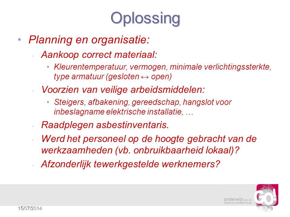 Oplossing Planning en organisatie: Aankoop correct materiaal: