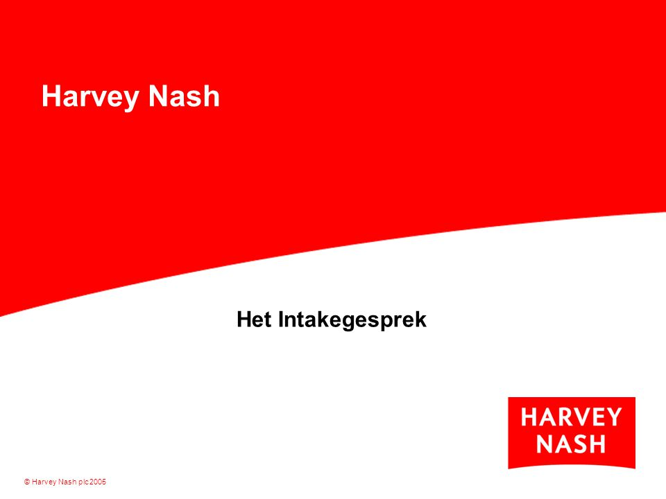 Harvey Nash Het Intakegesprek © Harvey Nash plc 2005