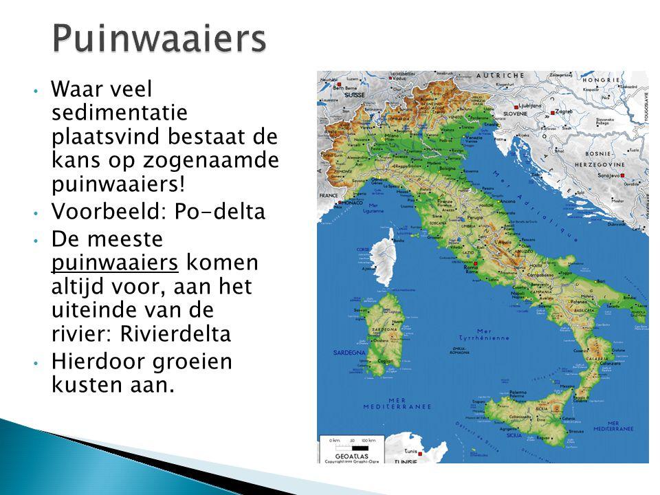 Puinwaaiers Waar veel sedimentatie plaatsvind bestaat de kans op zogenaamde puinwaaiers! Voorbeeld: Po-delta.