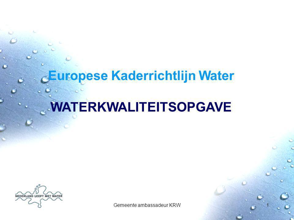 Europese Kaderrichtlijn Water WATERKWALITEITSOPGAVE