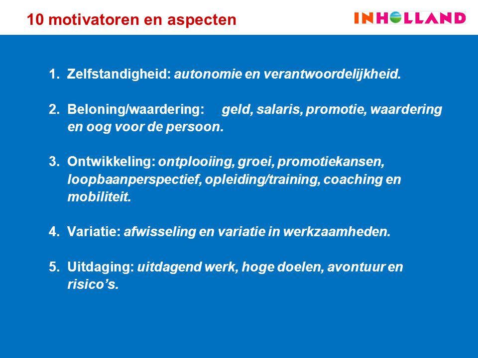 10 motivatoren en aspecten