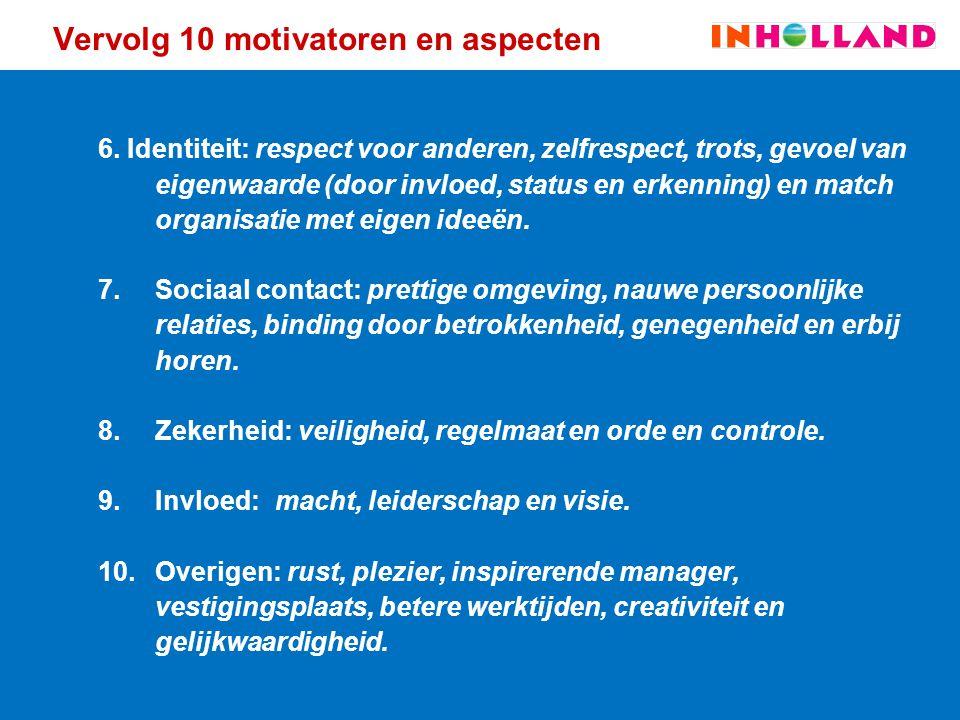Vervolg 10 motivatoren en aspecten