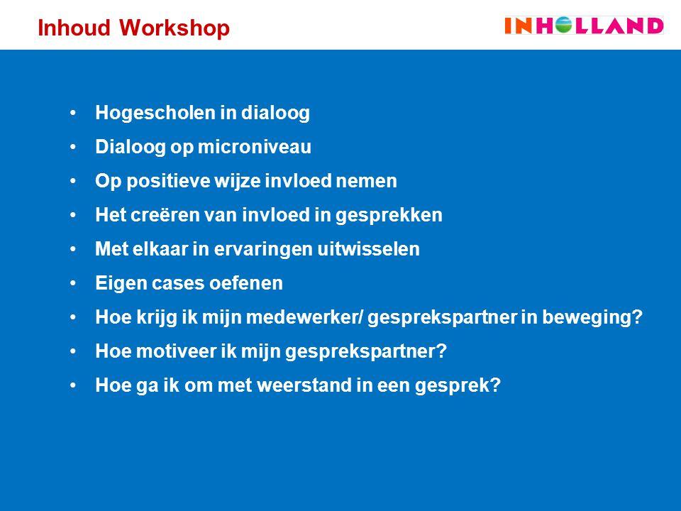 Inhoud Workshop Hogescholen in dialoog Dialoog op microniveau