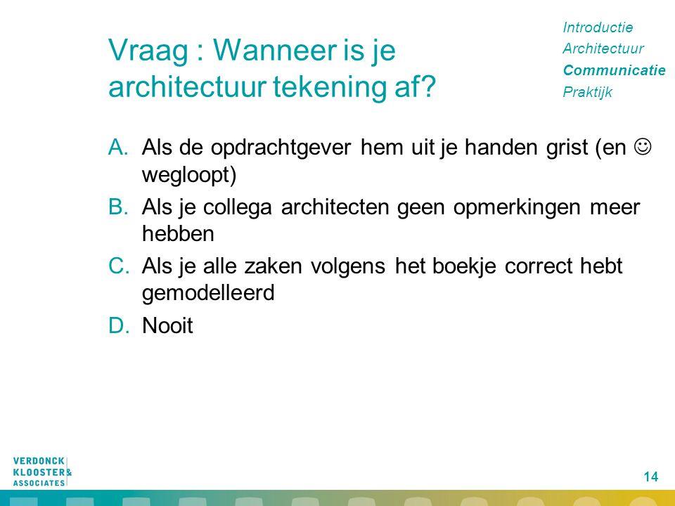 Vraag : Wanneer is je architectuur tekening af