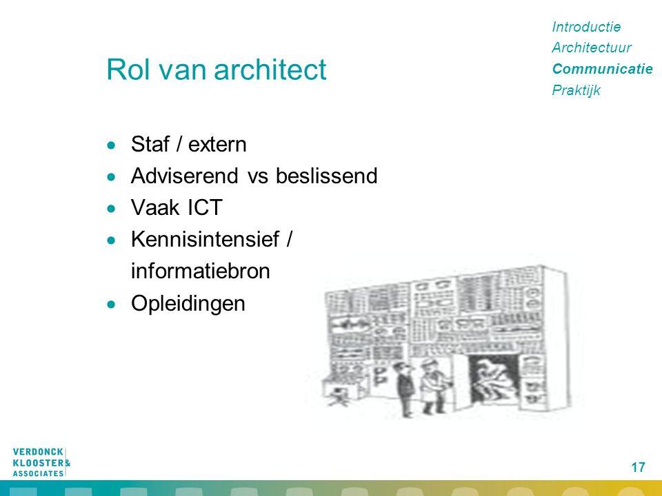 Rol van architect Staf / extern Adviserend vs beslissend Vaak ICT