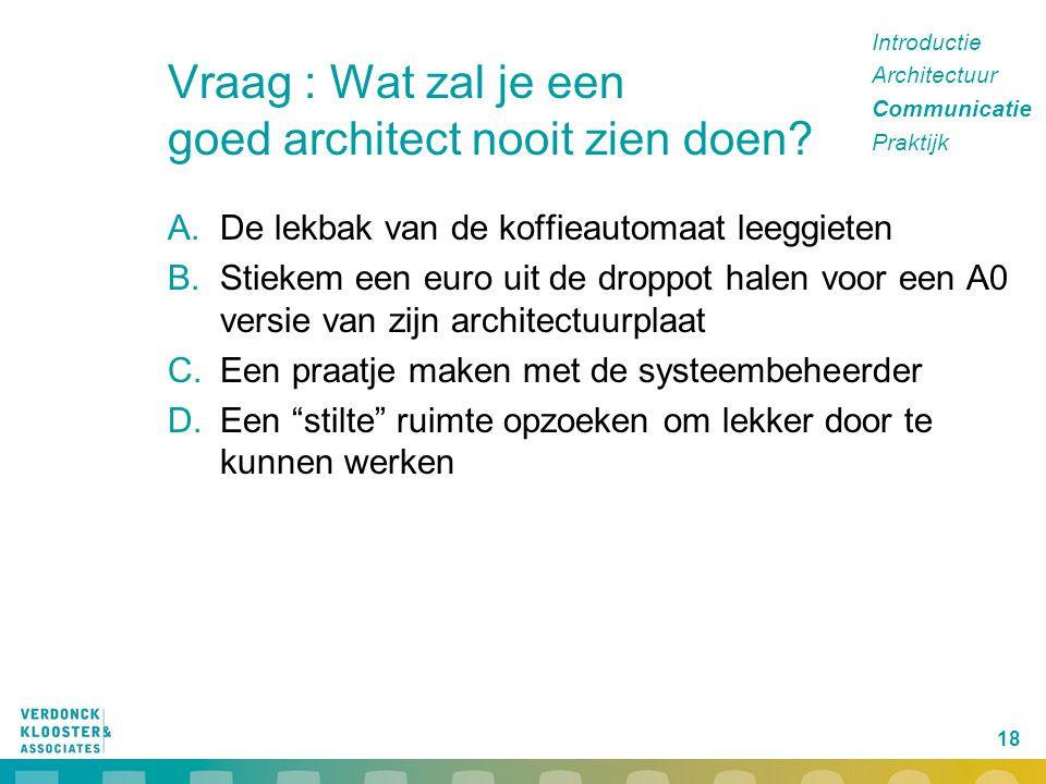 Vraag : Wat zal je een goed architect nooit zien doen