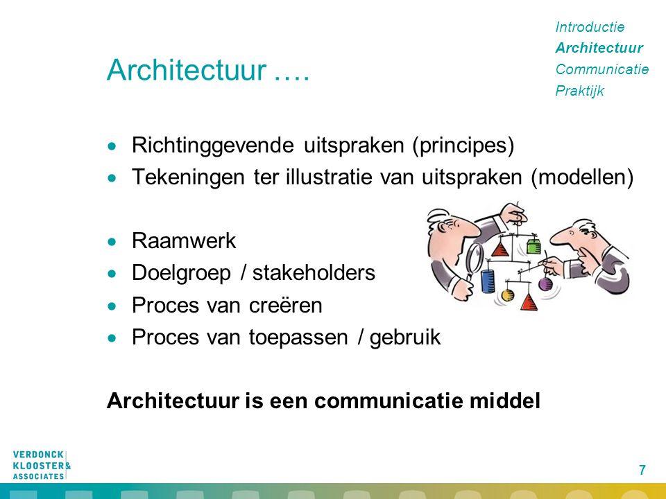 Architectuur …. Richtinggevende uitspraken (principes)