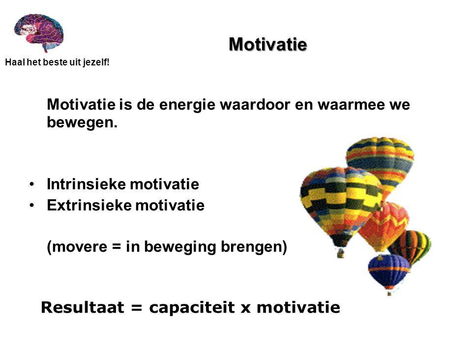 Resultaat = capaciteit x motivatie